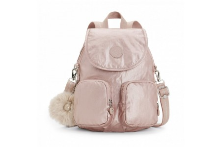 Kipling Petit sac à dos transformable en sac à bandoulière Metallic Blush