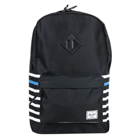 Herschel Sac à dos Heritage Offset black offset stripe/black veggie tan leather
