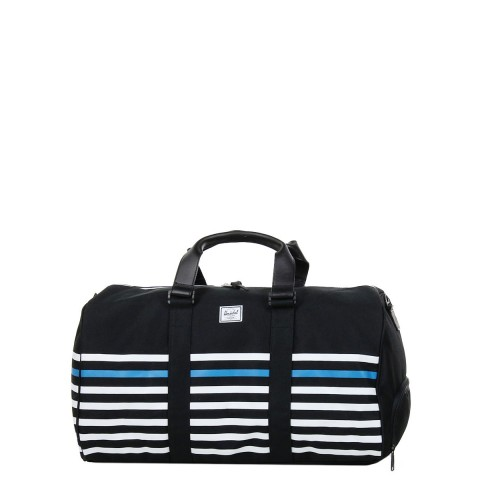 Herschel Sac de voyage Novel Offset 52 cm black offset stripe/black veggie tan leather